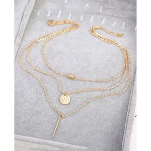 Bar & Ball Pendant Layered Chain Necklace